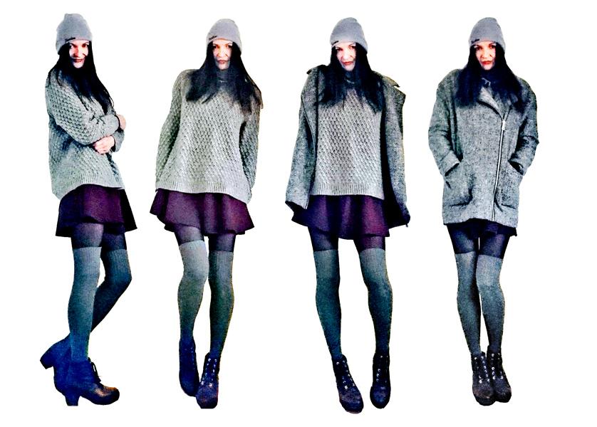Skaterrock & grauer Pullover mit Overknees