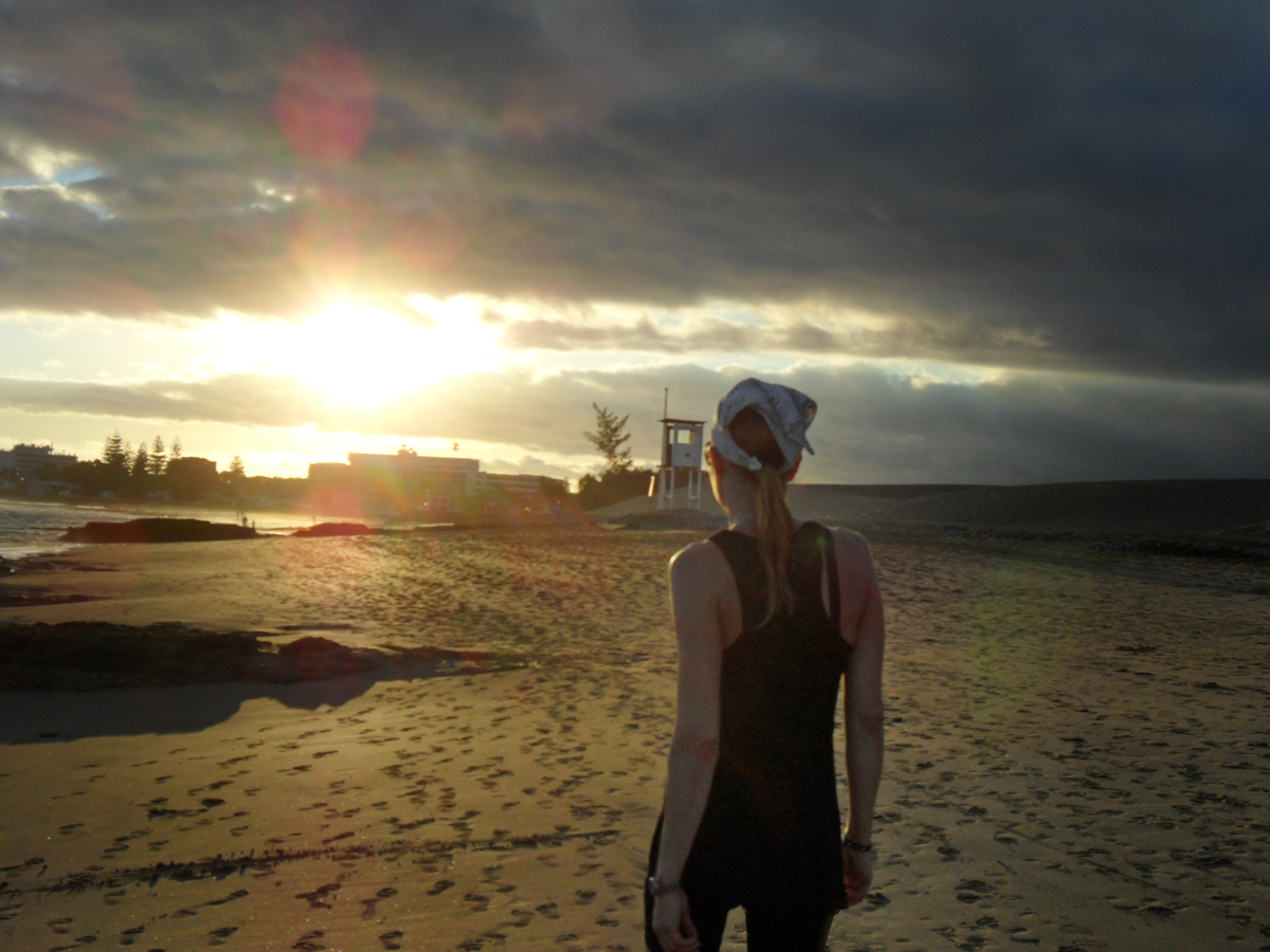 Joggen am Strand auf Gran Canaria