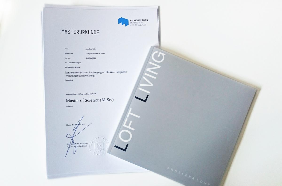 Annas Master of Science Urkunde & Arbeit