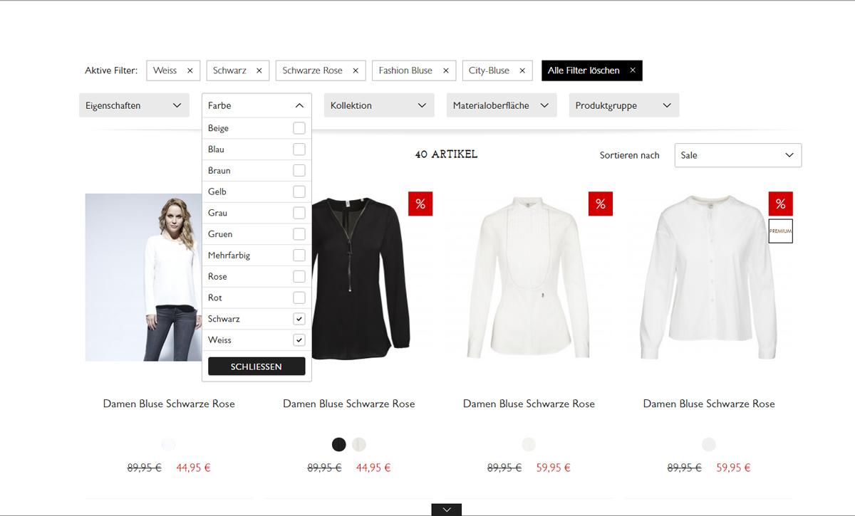 Seidensticker Auswahlmöglichkeiten im Online-Shop