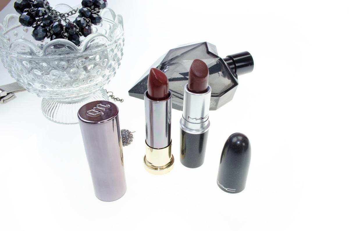 URBAN DECAY VICE LIPSTICK in Nighthawk Cream Shade + Mac Antique Velvet