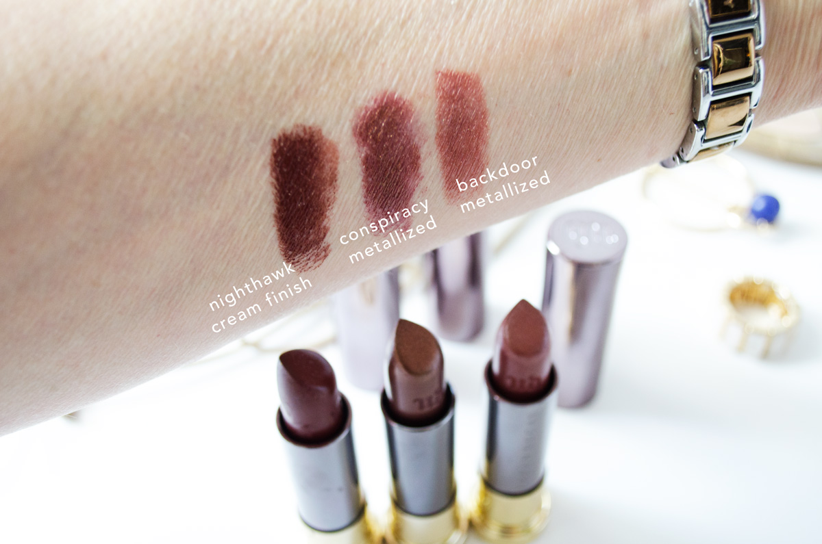 Urban Decay Vice Lipstick | Nighthawk, Conspiracy & Backdoor | Swatches