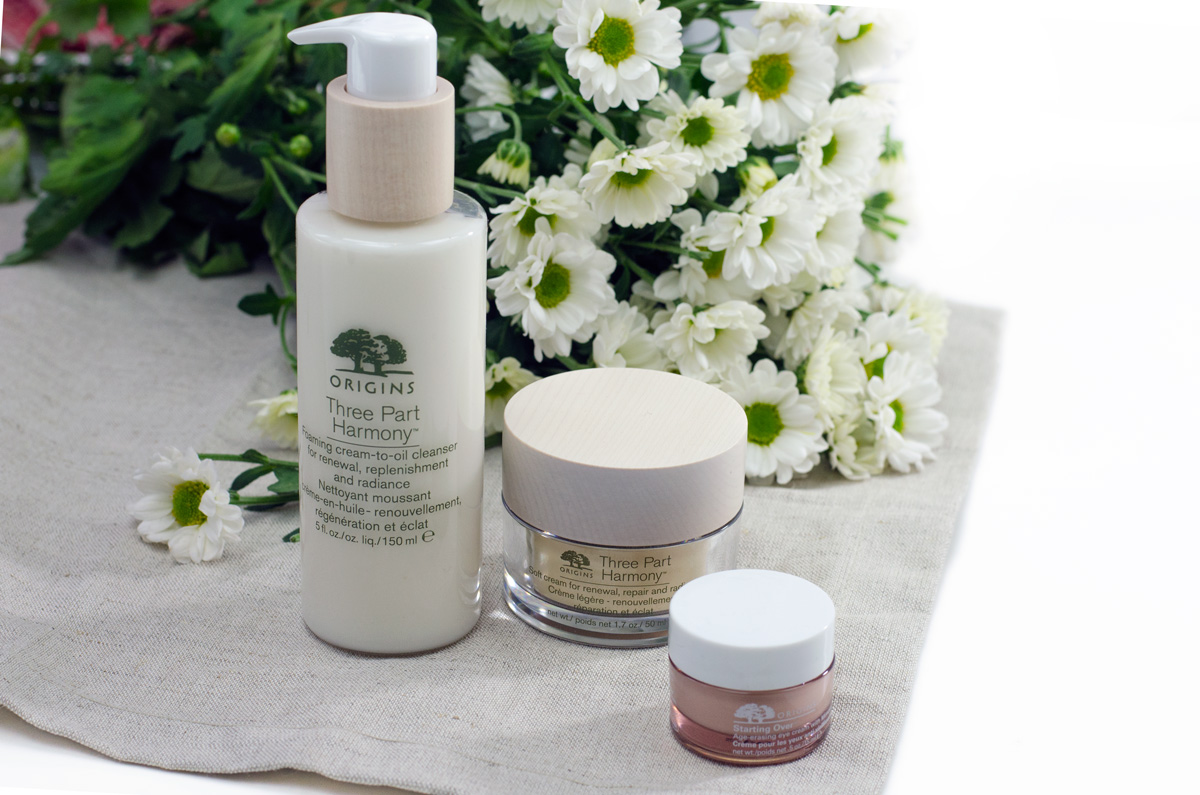 Origins Three-Part Harmony™ | Gesichtspflege Ü50 & Origins Starting Over™ Anti-Aging Augenpflege mit Mimose