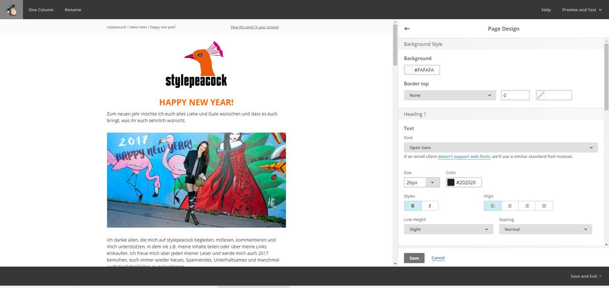 Newsletter mit MailChimp!   Screen Newsletter Design