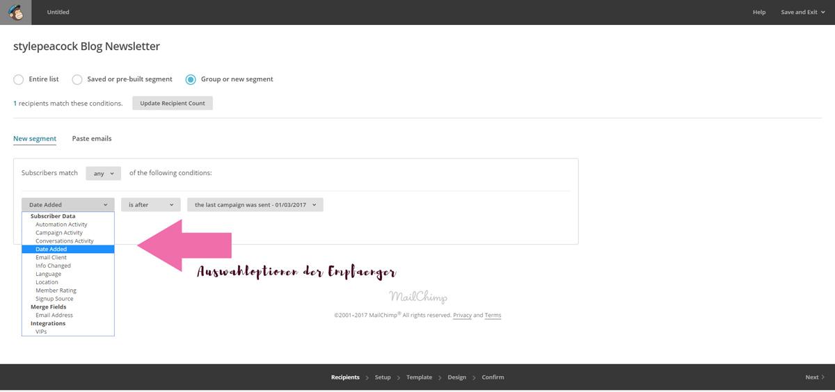 Newsletter mit MailChimp!   Screen Empfänger wählen