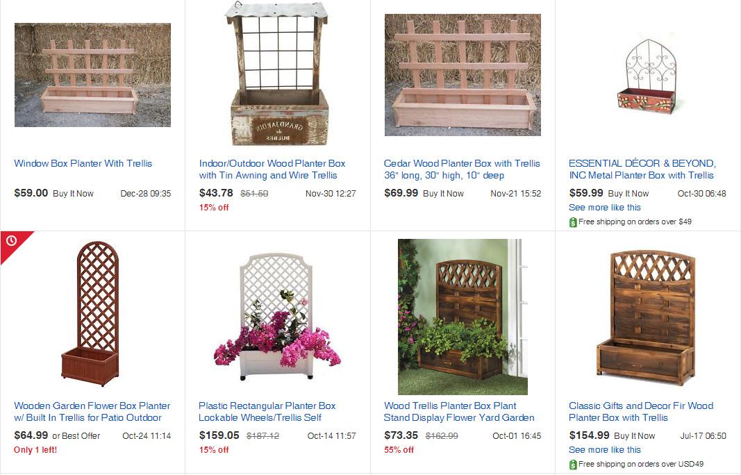 Rankgitter mit Pflanzkasten für den Balkon von ebay