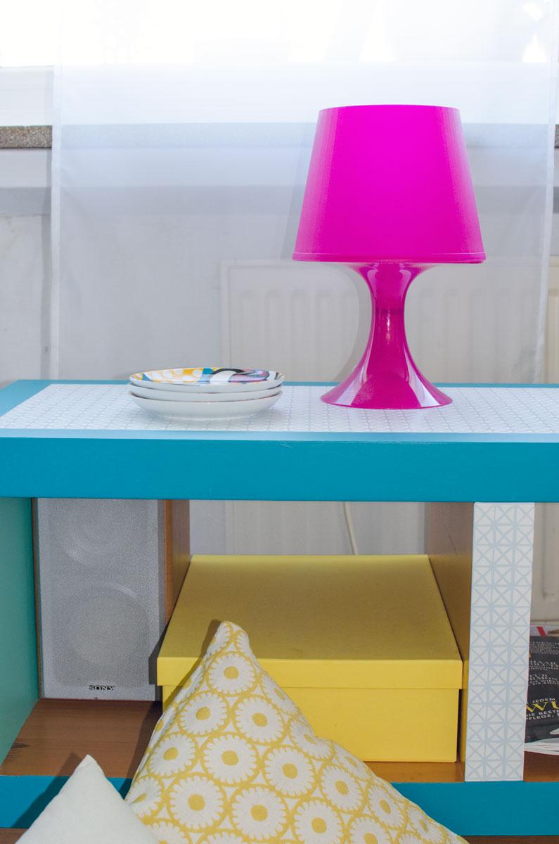 DIY IKEA Hack Sideboard im Vintage Style aus LACK Regal mit Möbelfolie