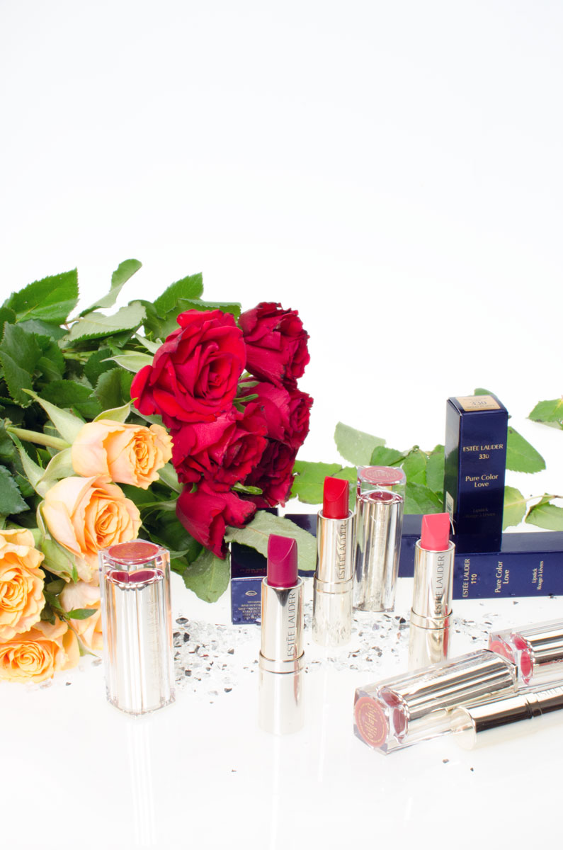 Estée Lauder Pure Color Love Lipsticks | Raw Sugar | Wild Poppy | Bar Red | Juiced Up