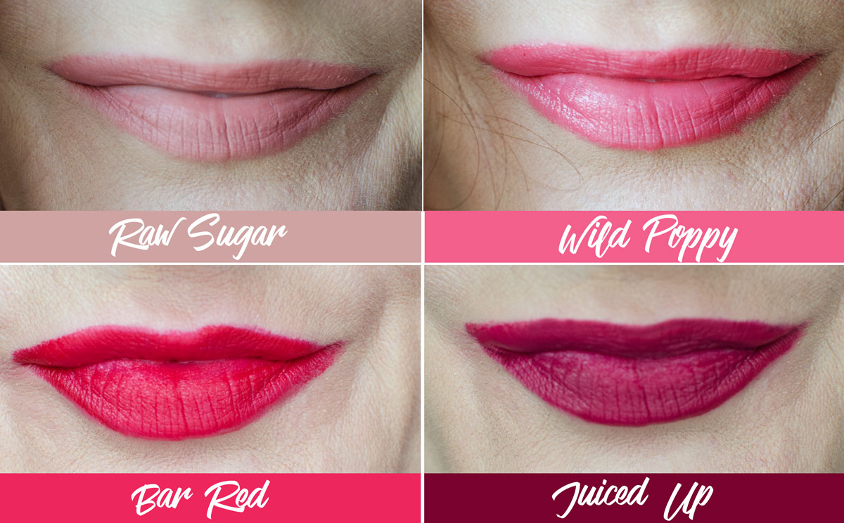 Estée Lauder Pure Color Love Lipsticks | Raw Sugar | Wild Poppy | Bar Red | Juiced Up