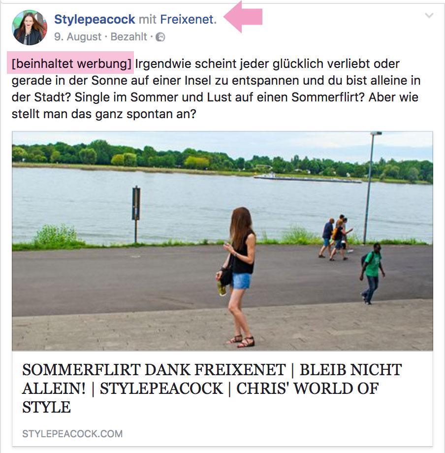 Kooperation bei Facebook deklarieren