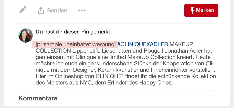 Kennzeichnung von Kooperationen auf Pinterest