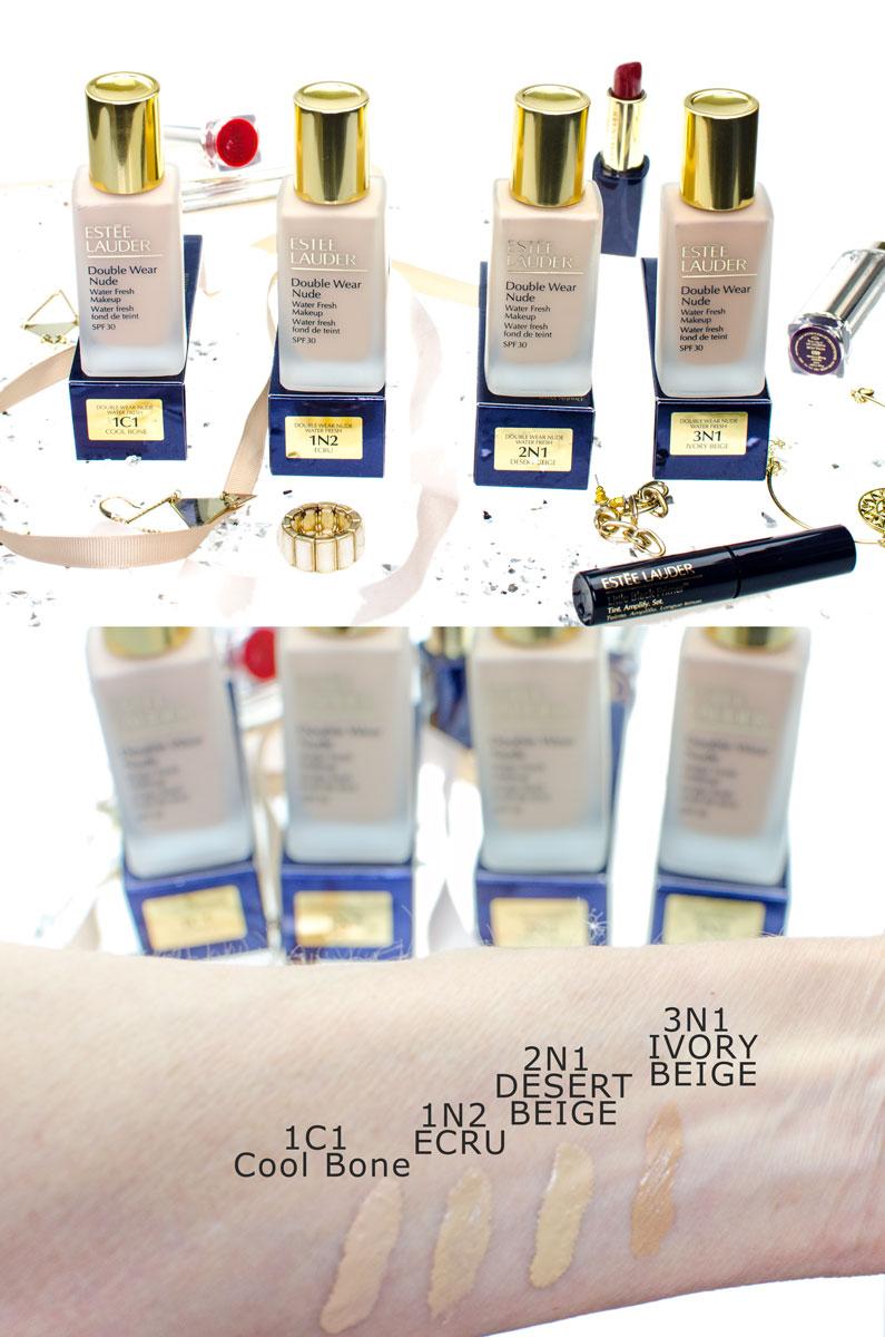 [beinhaltet werbung]Double Wear Nude Water Fresh Makeup SPF 30   Lighweight Foundation   Swatches